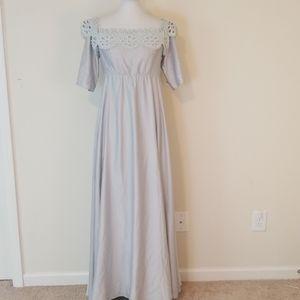 Asos silver high waist maxi length dress size 10